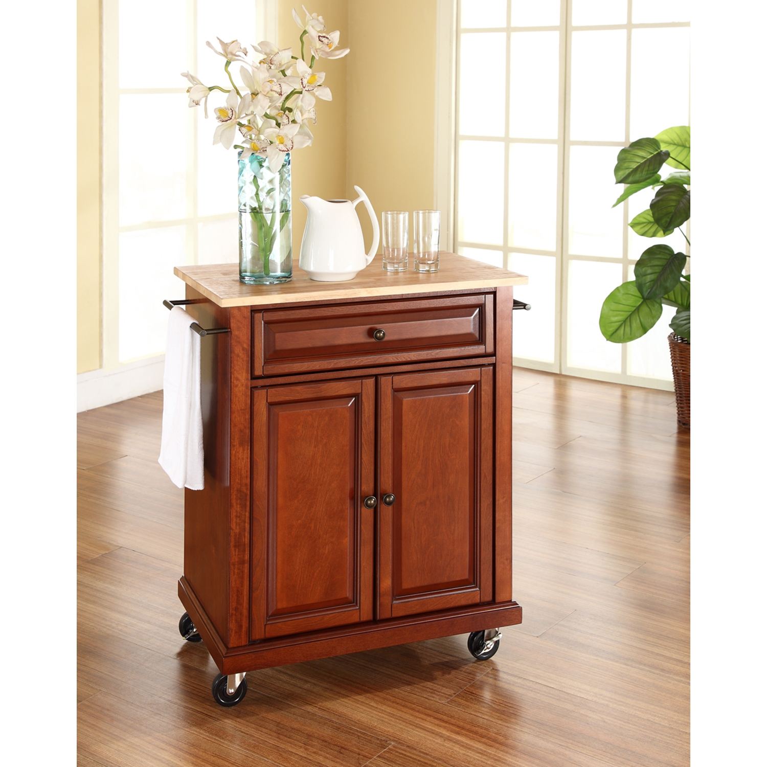 Natural Wood Top Portable Kitchen Cart/Island - Classic Cherry - CROS-KF30021ECH