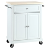 Natural Wood Top Portable Kitchen Cart/Island - White - CROS-KF30021EWH