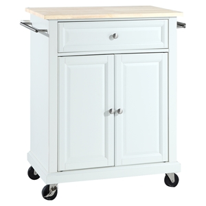 Natural Wood Top Portable Kitchen Cart/Island - White
