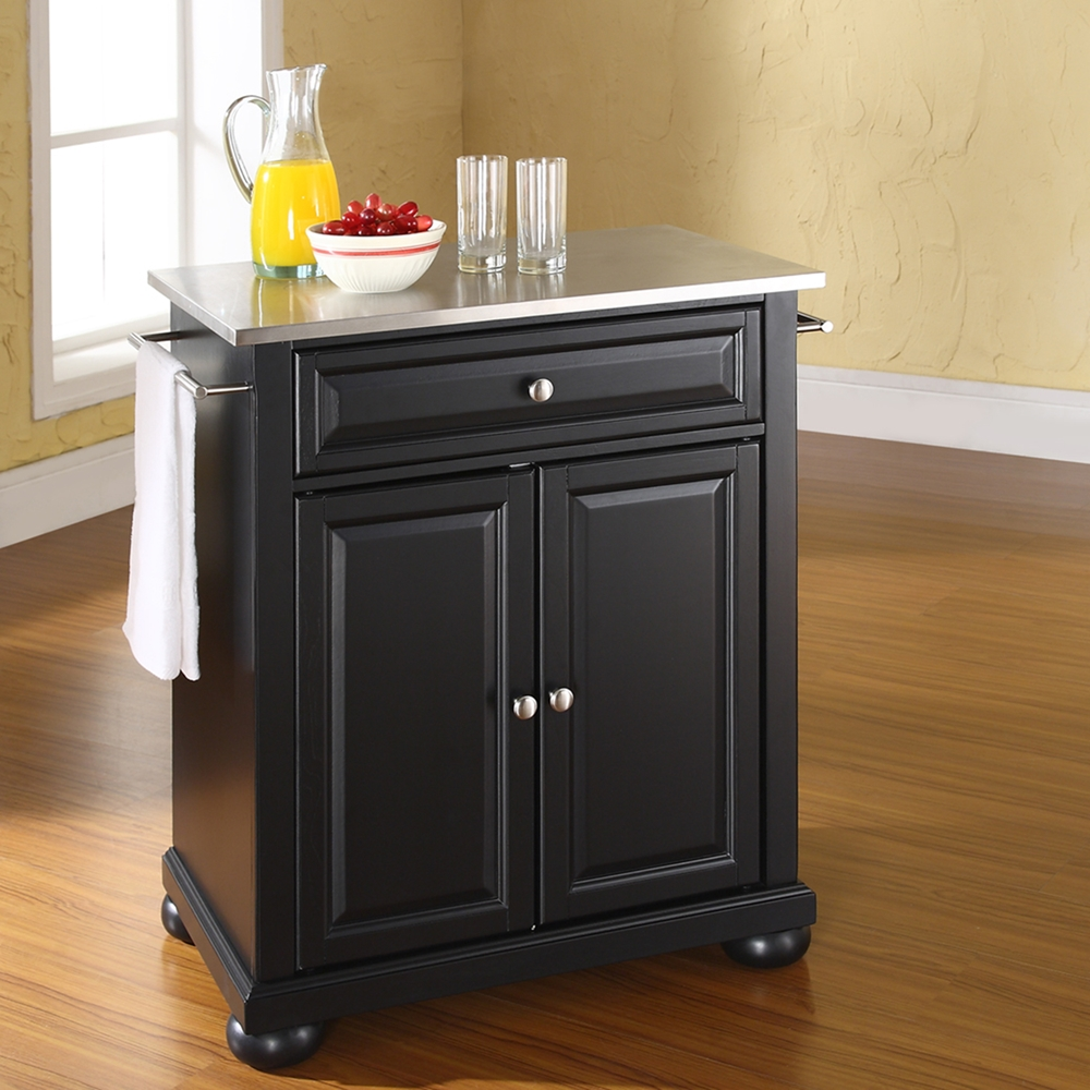 Alexandria Stainless Steel Top Portable Kitchen Island Black Dcg Stores