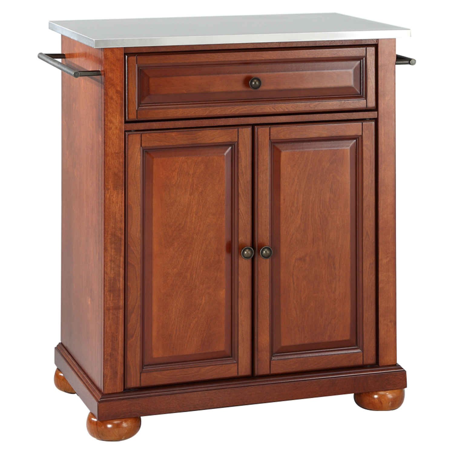 Alexandria Stainless Steel Top Portable Kitchen Island - Classic Cherry - CROS-KF30022ACH