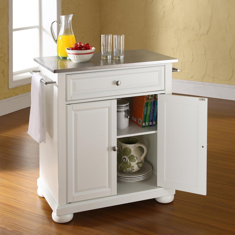 Alexandria Stainless Steel Top Portable Kitchen Island  White  CROS