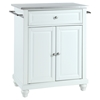 Cambridge Kitchen Island - Stainless Steel Top, Portable, White - CROS-KF30022DWH