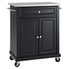 Stainless Steel Top Portable Kitchen Cart/Island - Casters, Black - CROS-KF30022EBK