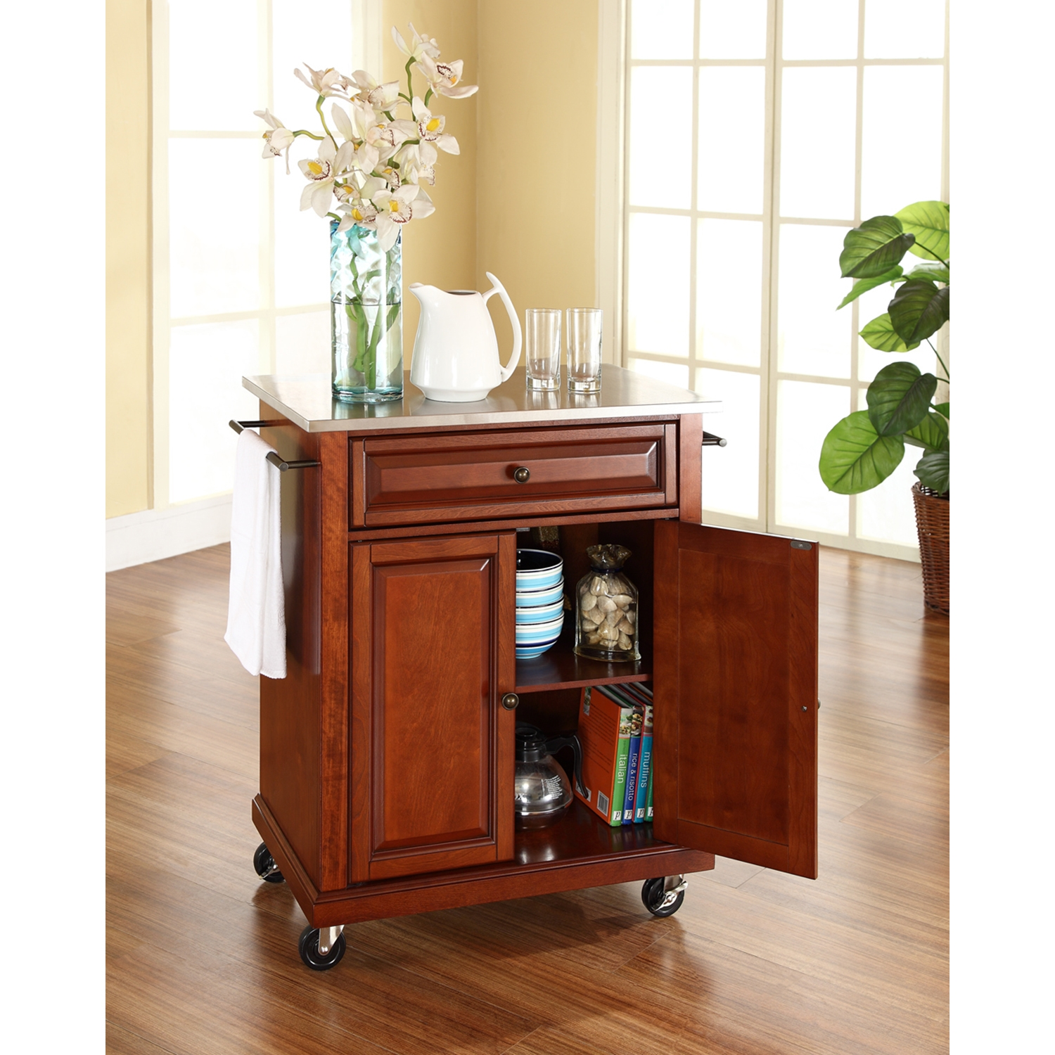 Stainless Steel Top Portable Kitchen Cart/Island - Casters, Classic Cherry - CROS-KF30022ECH