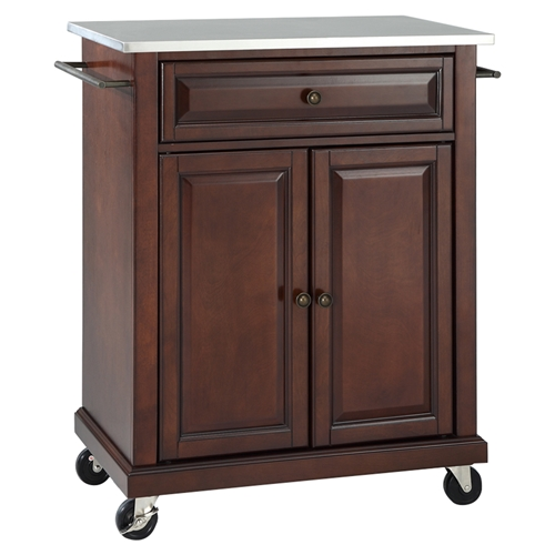 Stainless Steel Top Portable Kitchen Cart Island Casters Mahogany Dcg Stores