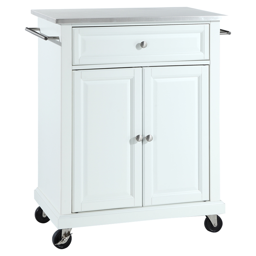 stainless steel top portable kitchen cart island casters white dcg stores. Black Bedroom Furniture Sets. Home Design Ideas