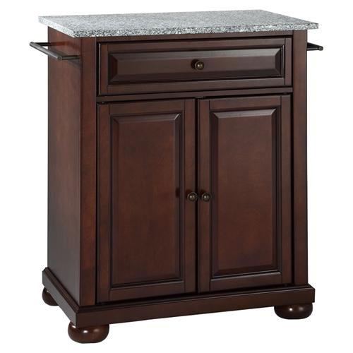 Alexandria Solid Granite Top Portable Kitchen Island