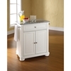 Alexandria Solid Granite Top Portable Kitchen Island - White - CROS-KF30023AWH