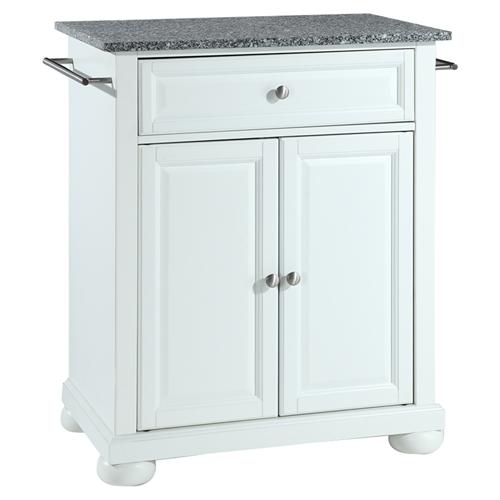 Alexandria Solid Granite Top Portable Kitchen Island White