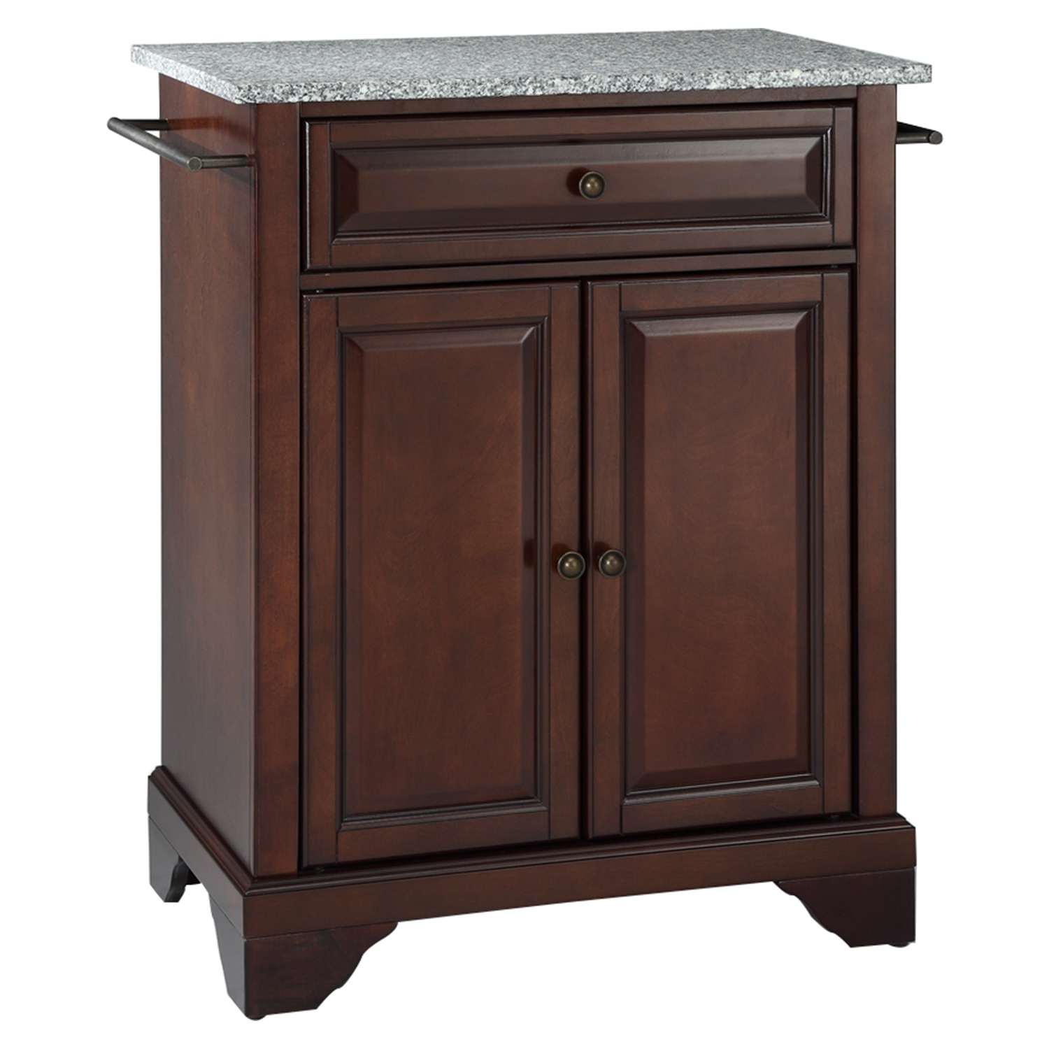 LaFayette Kitchen Island - Granite Top, Portable, Vintage Mahogany - CROS-KF30023BMA