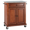 Solid Granite Top Portable Kitchen Cart/Island - Classic Cherry - CROS-KF30023ECH