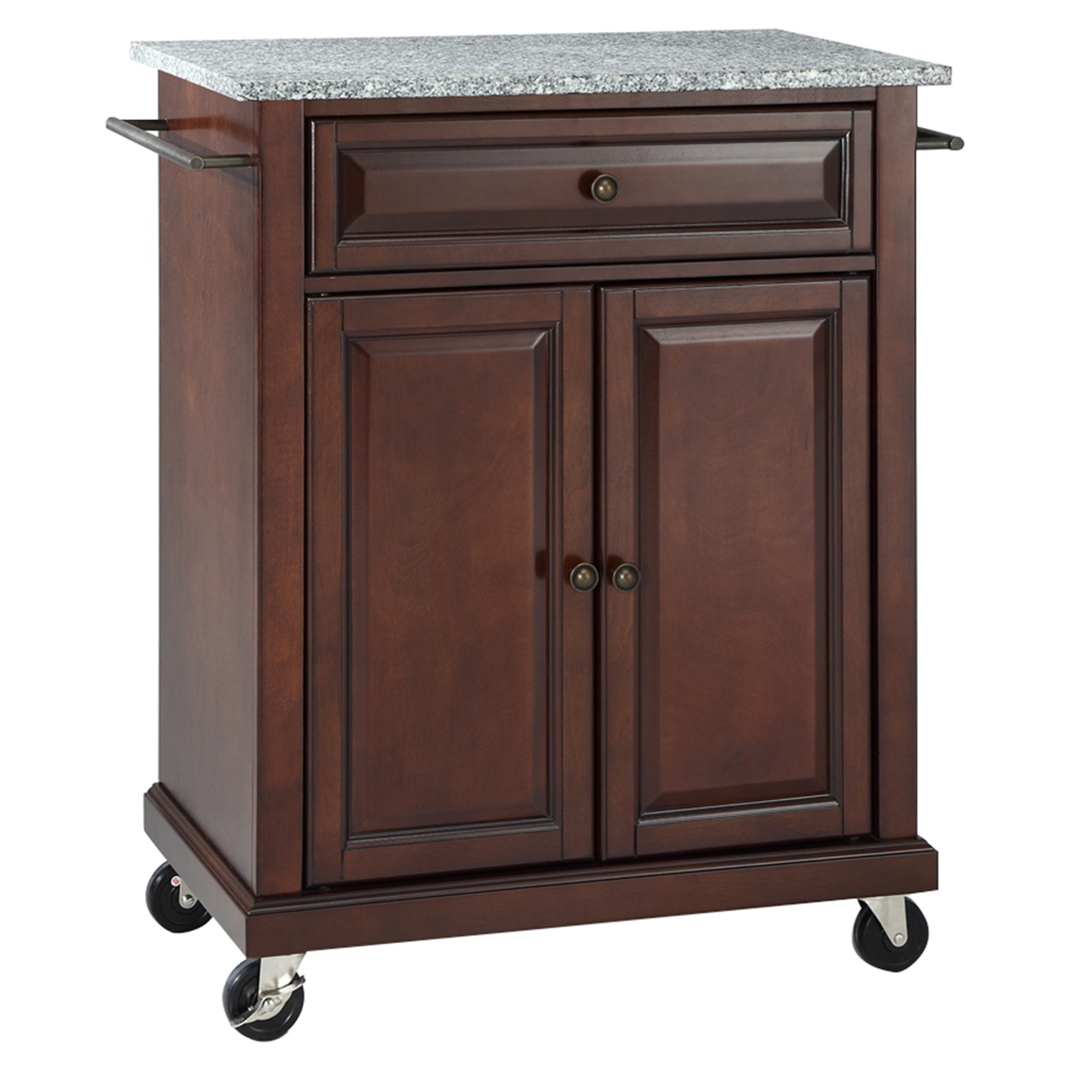 Solid Granite Top Portable Kitchen Cart/Island - Vintage Mahogany - CROS-KF30023EMA