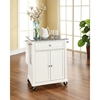 Solid Granite Top Portable Kitchen Cart/Island - White - CROS-KF30023EWH