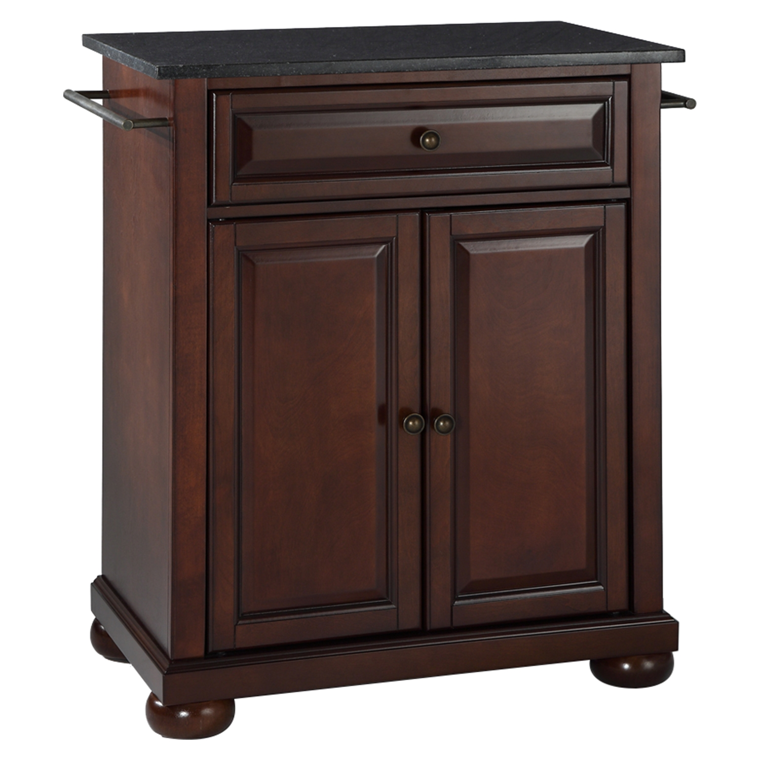 Alexandria Kitchen Island - Portable, Black Granite Top, Vintage Mahogany - CROS-KF30024AMA