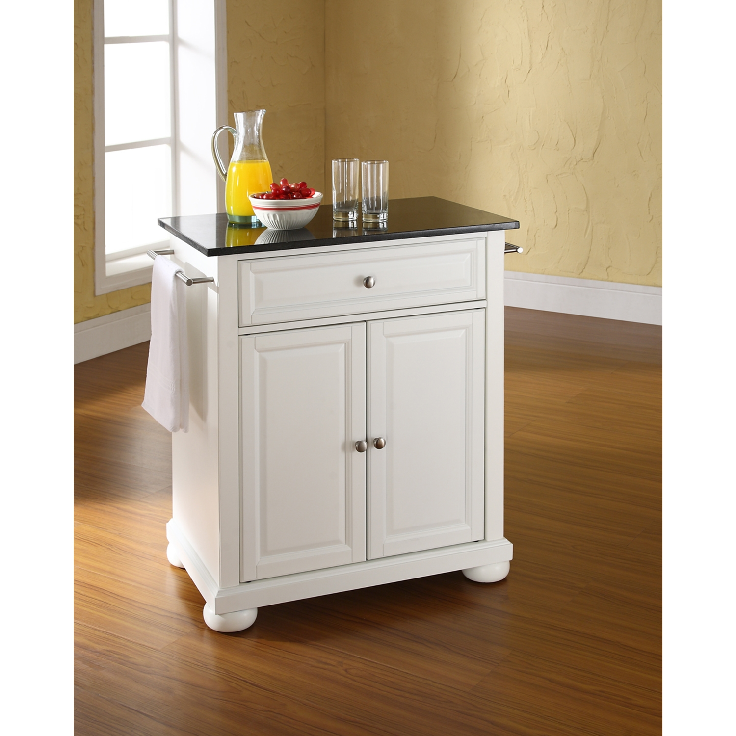 Alexandria Kitchen Island - Portable, Black Granite Top, White - CROS-KF30024AWH