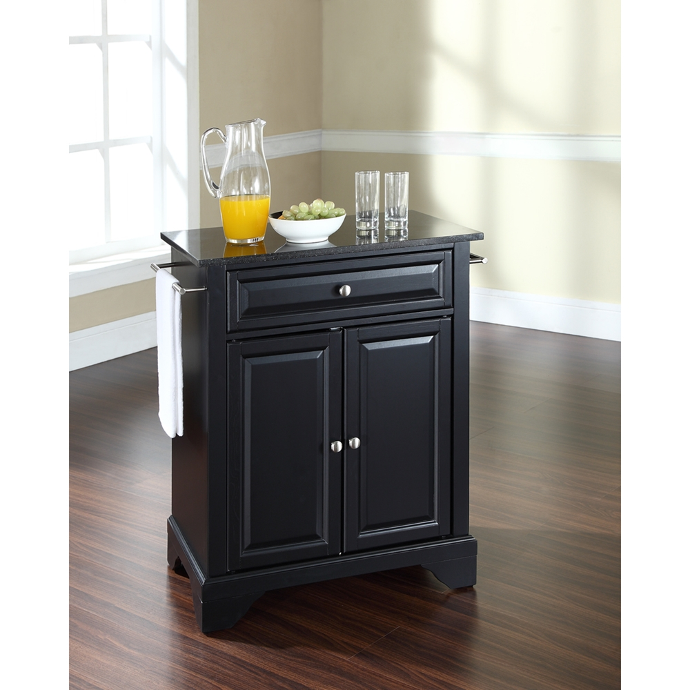 Lafayette solid black granite top portable kitchen island for Black kitchen island with granite top