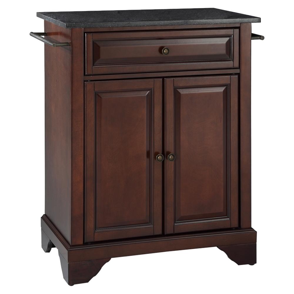 Lafayette Solid Black Granite Top Portable Kitchen Island Mahogany Dcg Stores