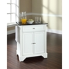 LaFayette Solid Black Granite Top Portable Kitchen Island - White - CROS-KF30024BWH