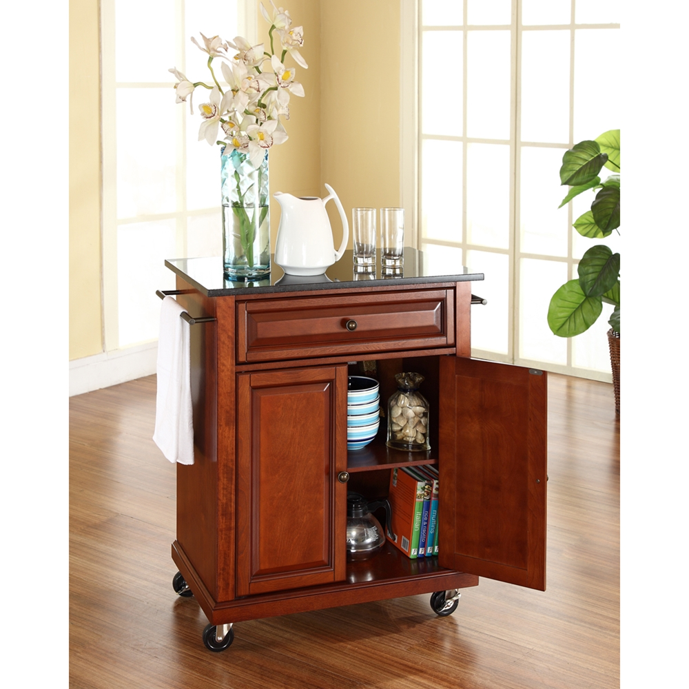 Solid Black Granite Top Portable Kitchen Island Cart Classic Cherry Dcg Stores