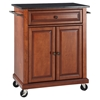 Solid Black Granite Top Portable Kitchen Island Cart - Classic Cherry - CROS-KF30024ECH