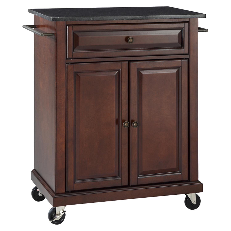 Solid Black Granite Top Portable Kitchen Island Cart
