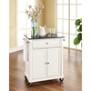 Solid Black Granite Top Portable Kitchen Island Cart - White - CROS-KF30024EWH