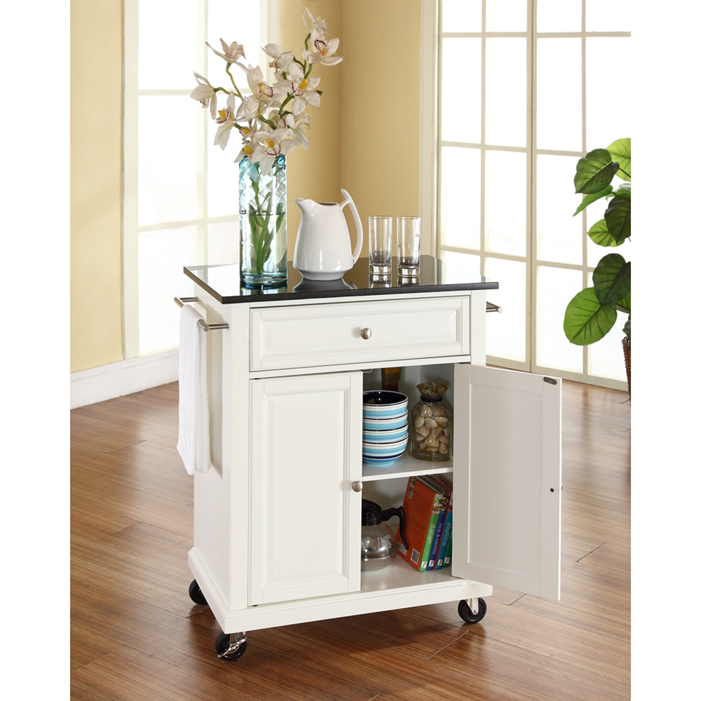 Solid black granite top portable kitchen island cart for Black kitchen island with granite top