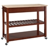 Natural Wood Top Kitchen Cart/Island - Classic Cherry - CROS-KF30051CH