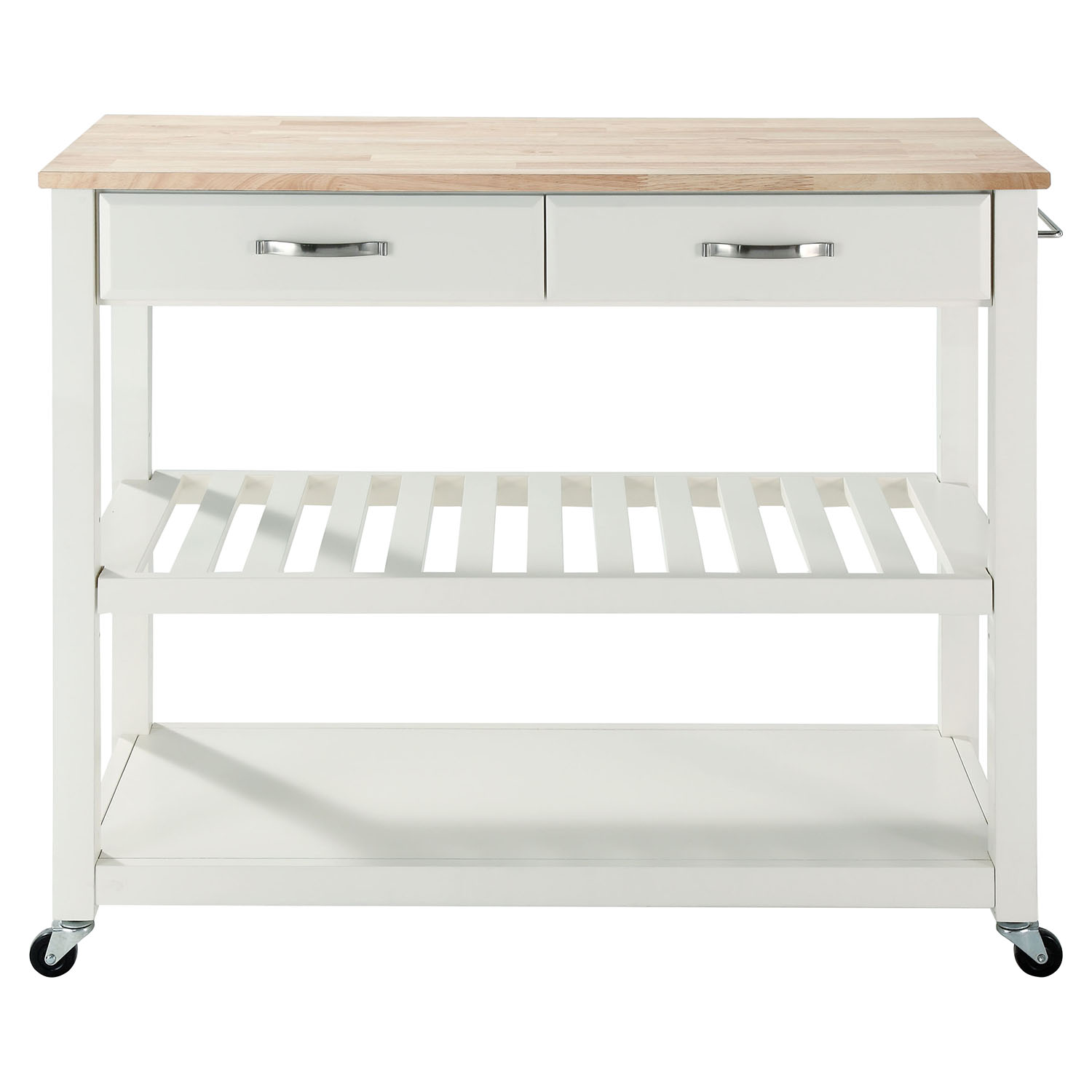 Natural Wood Top Kitchen Cart/Island - Optional Stool Storage, White - CROS-KF30051WH