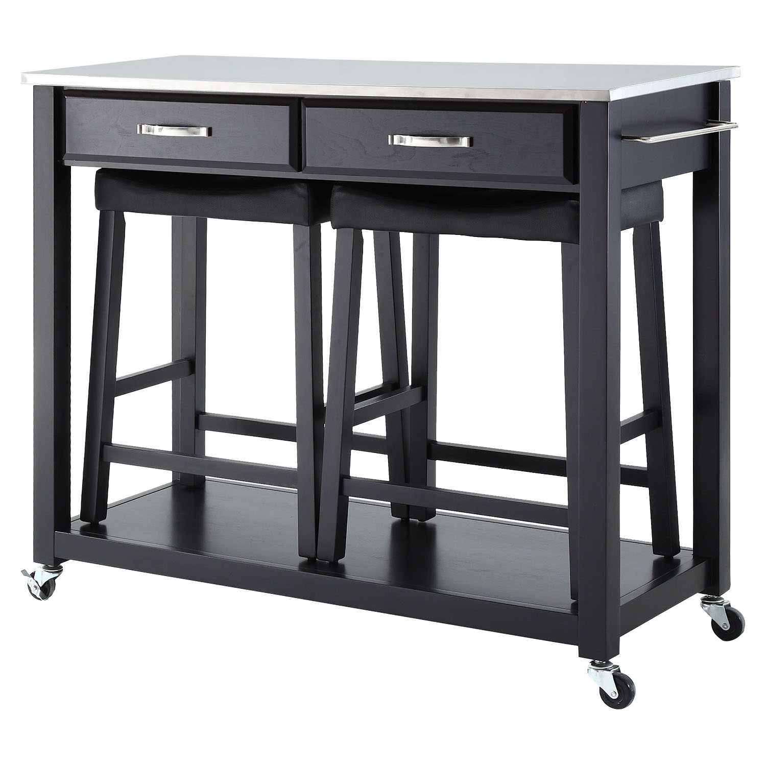 Stainless Steel Top Kitchen Island Cart and Saddle Stools  Black