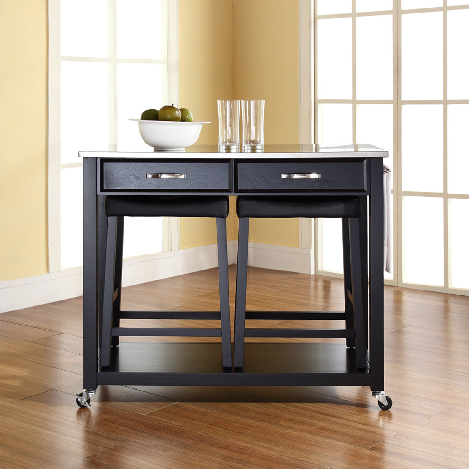 Stainless Steel Top Kitchen Island Counter Height Utility: Stainless Steel Top Kitchen Island Cart And Saddle Stools