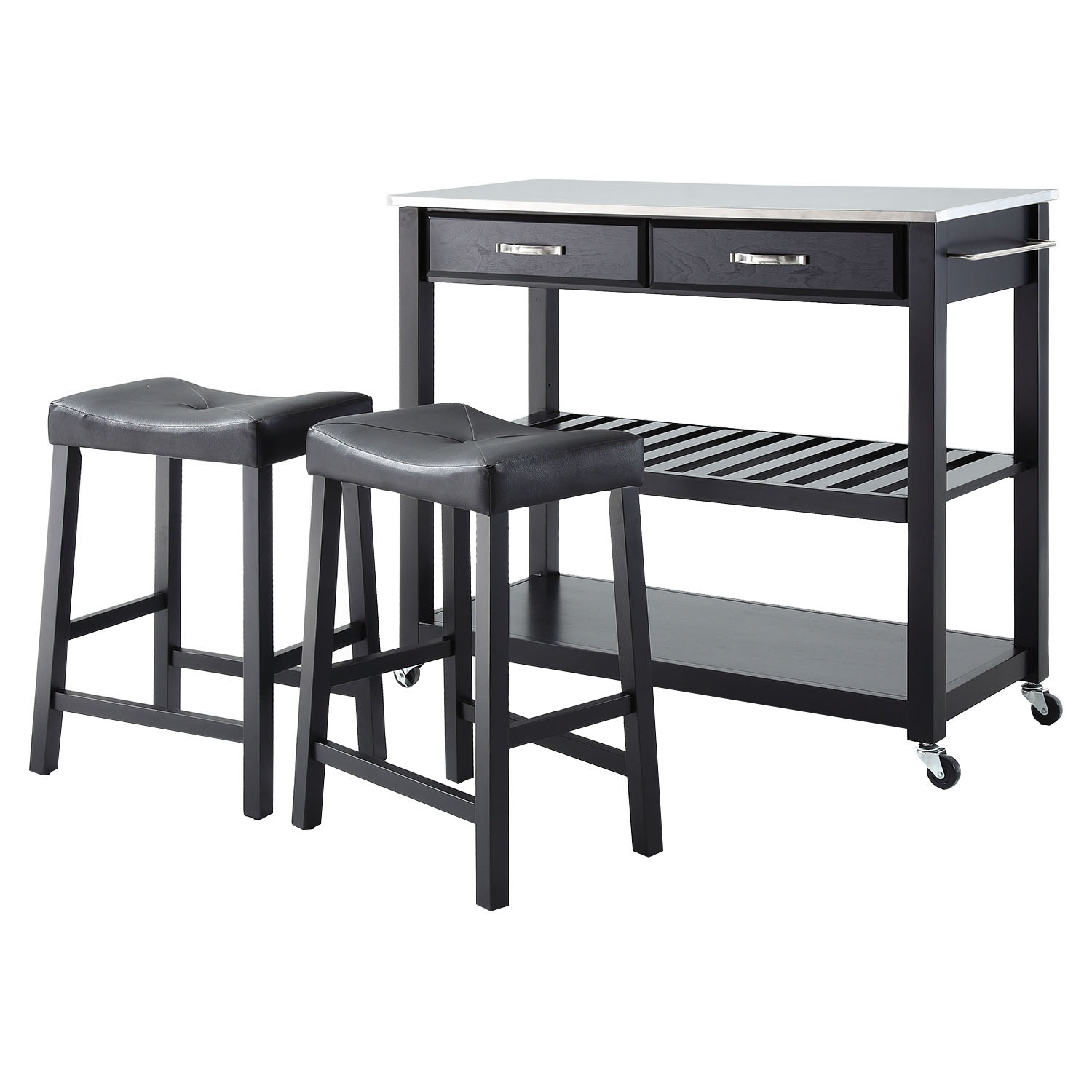 Stainless Steel Top Kitchen Island Cart and Saddle Stools - Black - CROS-KF300524BK