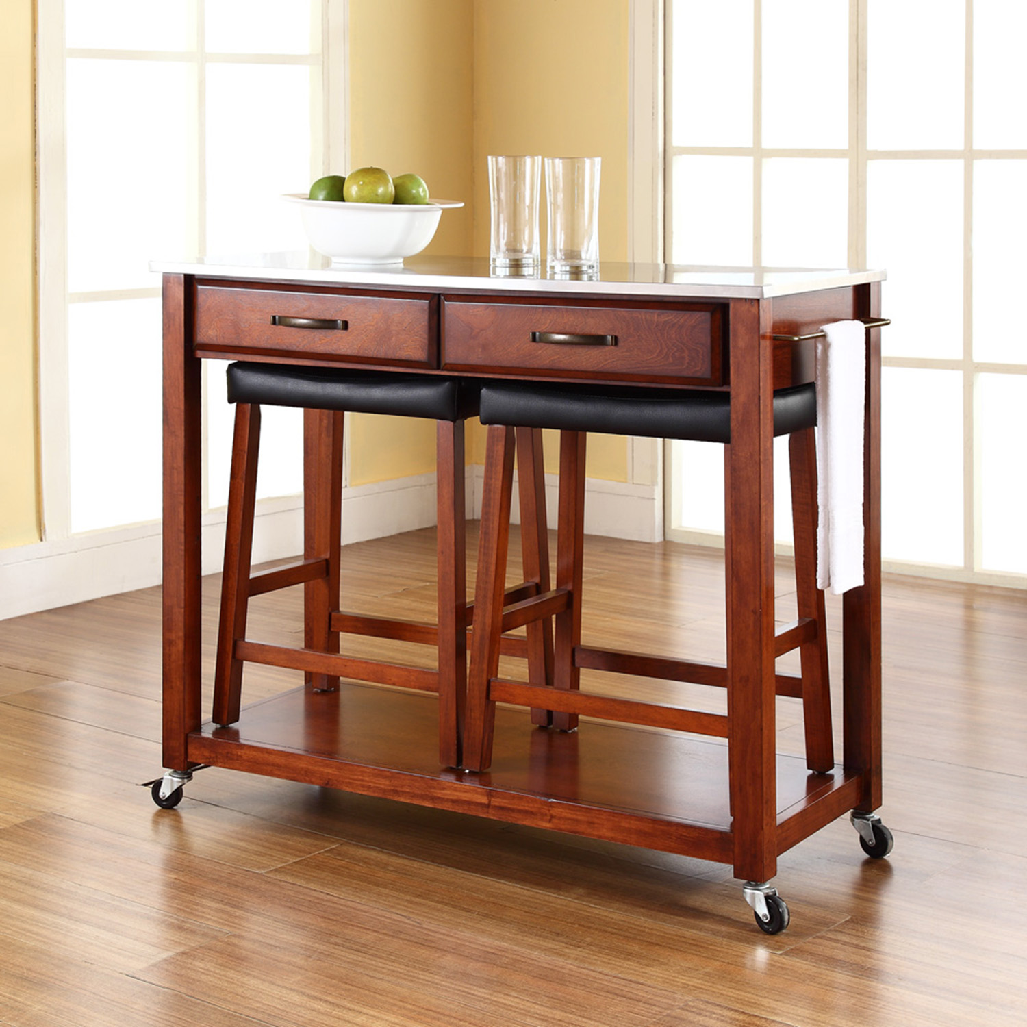 Stainless Steel Top Kitchen Island Cart and Saddle Stools - Classic Cherry - CROS-KF300524CH