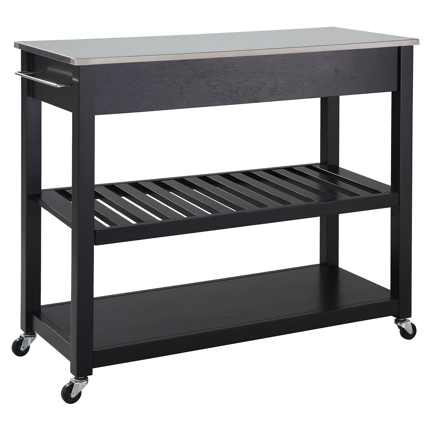 Stainless Steel Top Kitchen Island Cart  Optional Stool Storage
