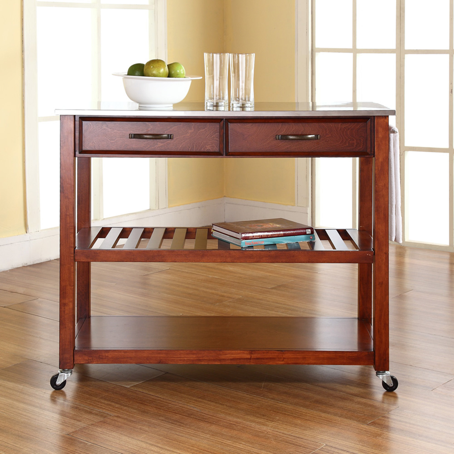 Stainless Steel Top Kitchen Island Cart - Classic Cherry - CROS-KF30052CH