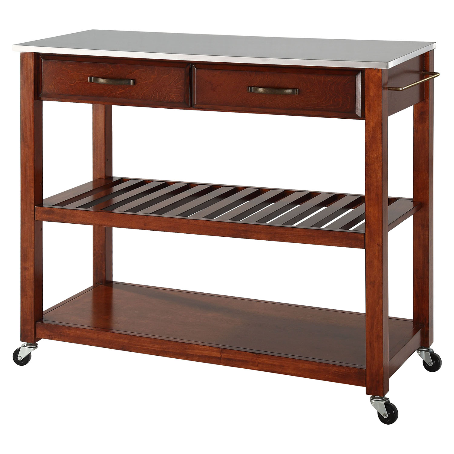 Stainless Steel Top Kitchen Island Cart Classic Cherry