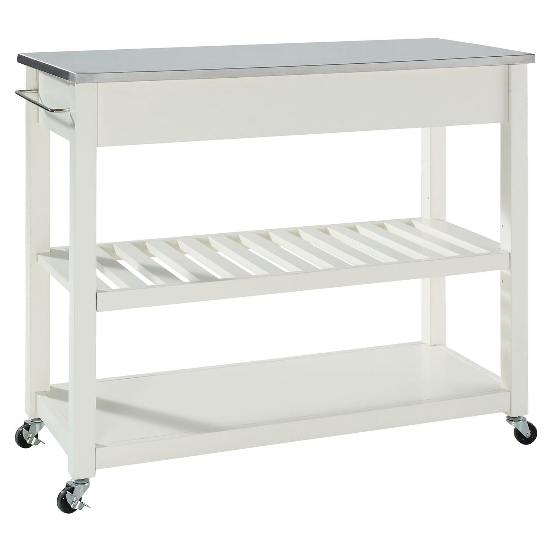 Stainless Steel Top Kitchen Island Cart Optional Stool