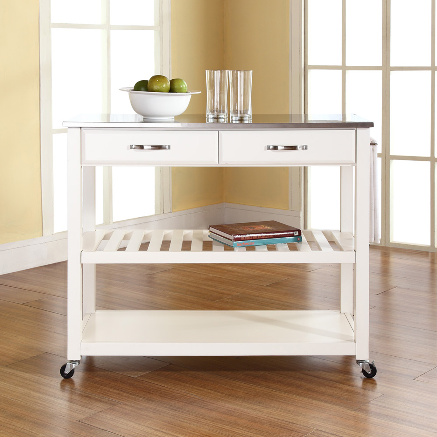 Stainless Steel Top Kitchen Island Cart - Optional Stool Storage, White - CROS-KF30052WH