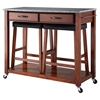 Solid Granite Top Kitchen Island Cart and Saddle Stools - Classic Cherry - CROS-KF300534CH