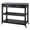 Solid Granite Top Kitchen Cart/Island - Optional Stool Storage, Black - CROS-KF30053BK