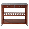 Solid Granite Top Kitchen Cart/Island - Classic Cherry - CROS-KF30053CH