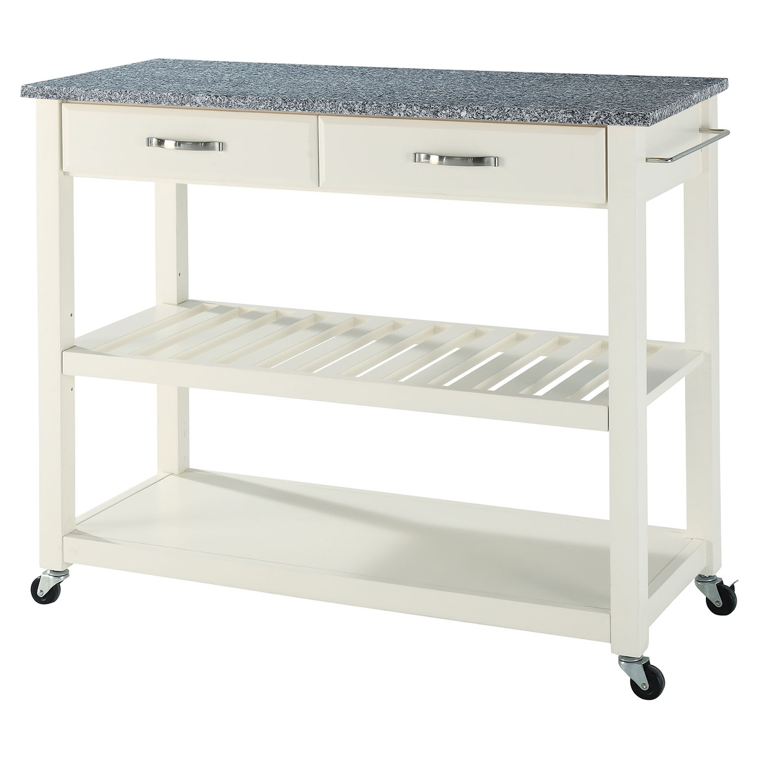 Solid Granite Top Kitchen Cart/Island   Optional Stool Storage, White    CROS  ...