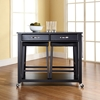 Solid Black Granite Top Kitchen Cart/Island and Saddle Stools - Black - CROS-KF300544BK