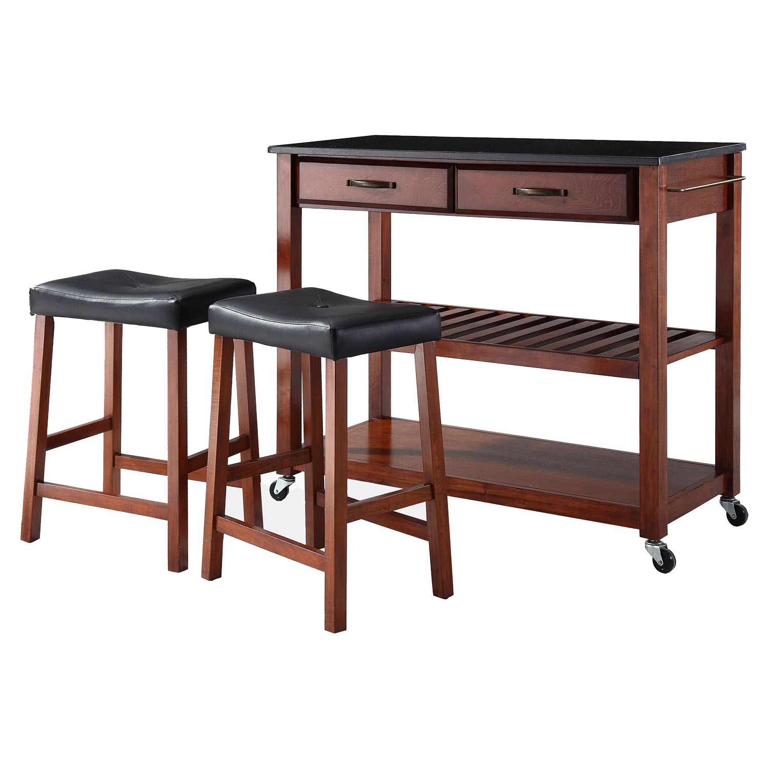 Solid Black Granite Top Kitchen Cart Island And Stools