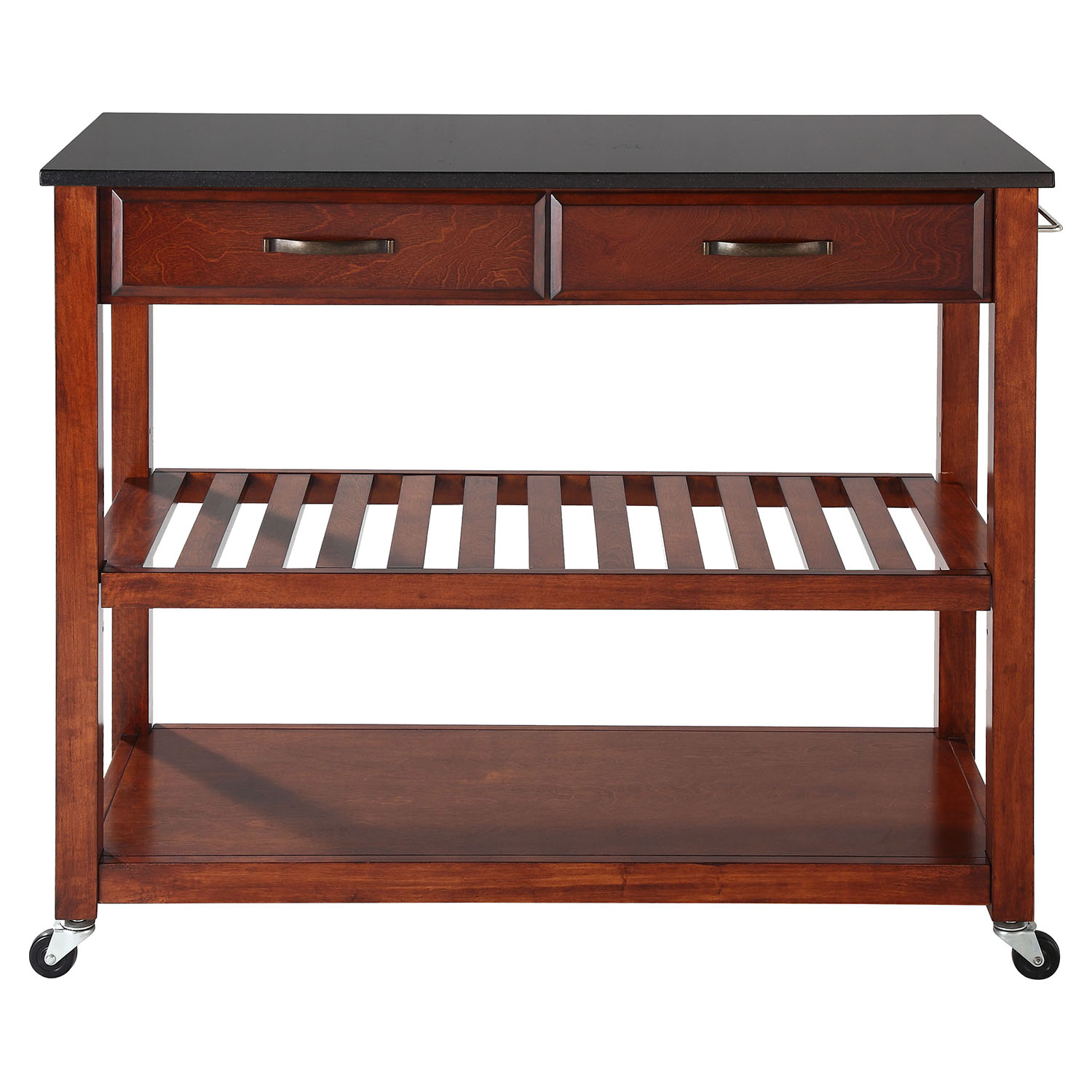 Solid Black Granite Top Kitchen Island Cart - Classic Cherry - CROS-KF30054CH