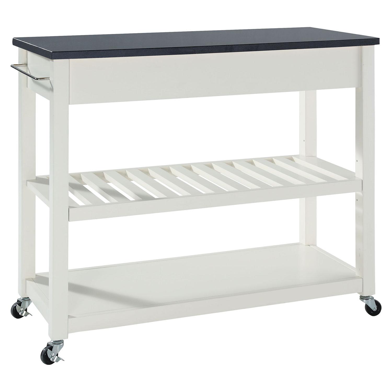 Solid Black Granite Top Kitchen Island Cart  White  CROS KF30054WH