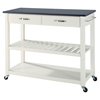 Solid Black Granite Top Kitchen Island Cart - White - CROS-KF30054WH