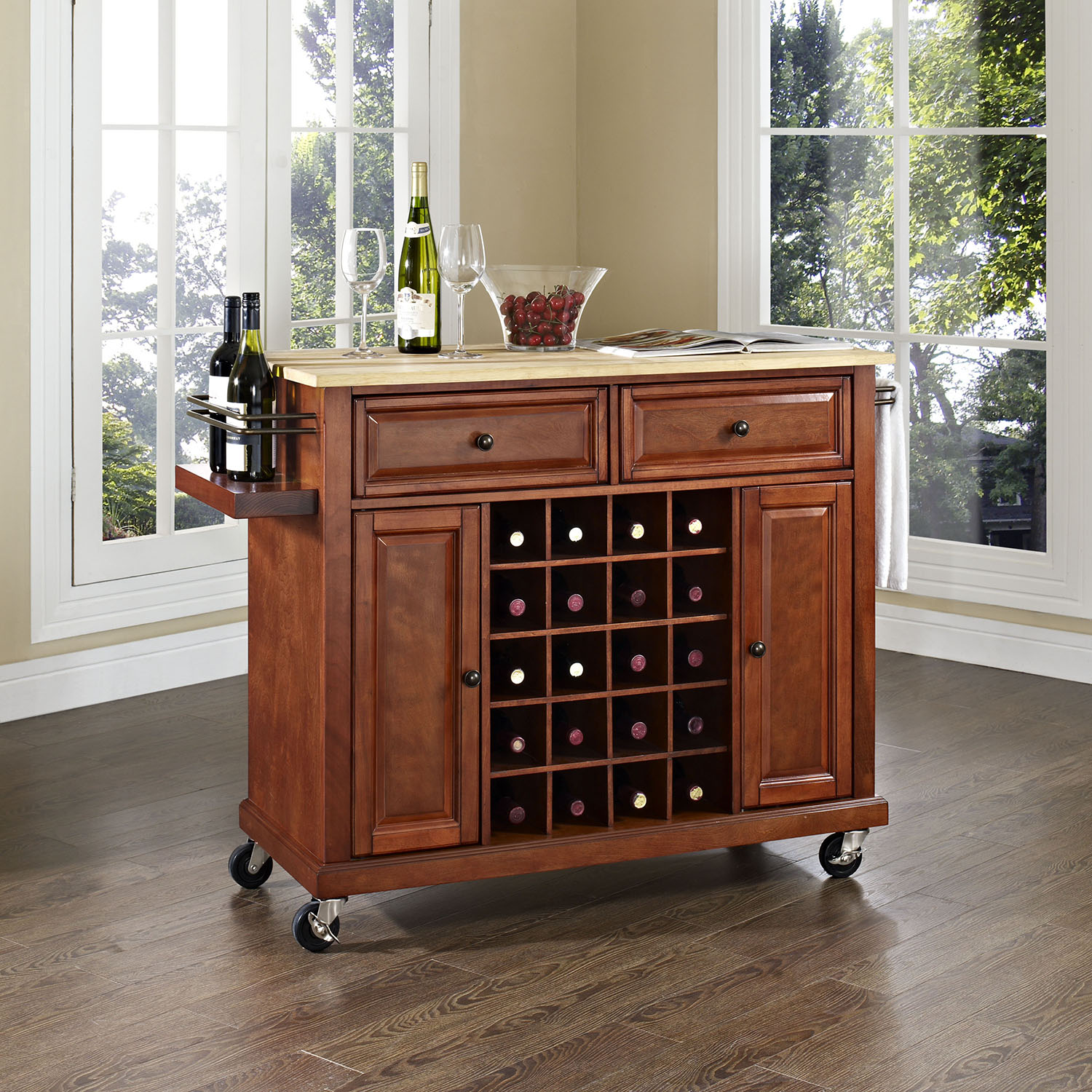 Natural Wood Top Wine Cart - Classic Cherry - CROS-KF31001ECH