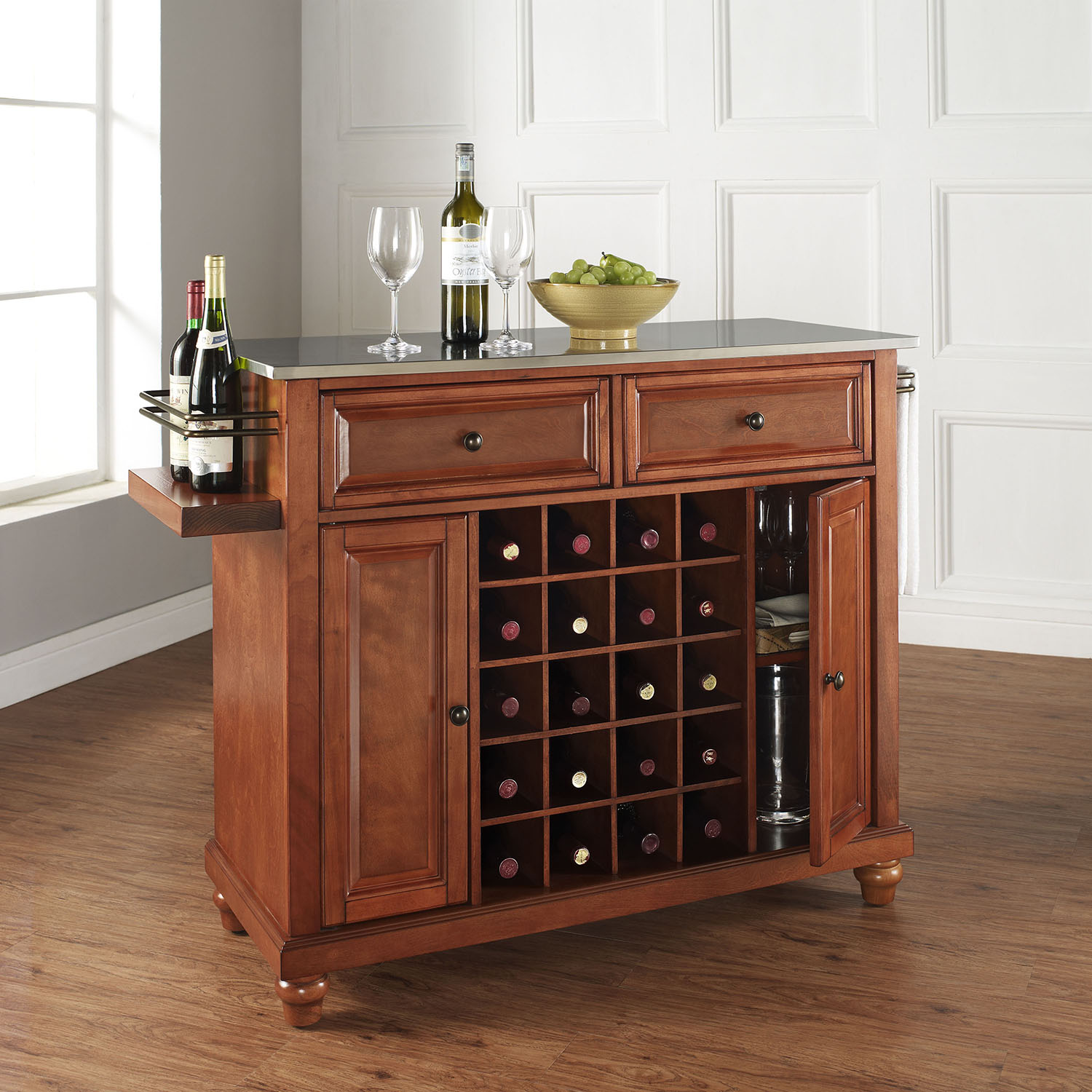 Cambridge Wine Island - Stainless Steel Top, Classic Cherry - CROS-KF31002DCH